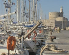Row of moored boats in harbour Stock Footage