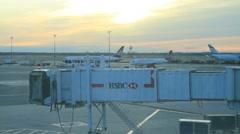 Airport Tarmac Sunset Stock Footage
