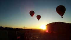 Hot Air Balloons Early Morning 3 Stock Footage