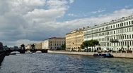 Stock Video Footage of Tour Boat in the inland river, St. Petersburg, Russia (timelapse)