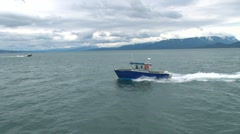 Small Boats Speeding in Bay Stock Footage