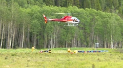 Helicopter, Astar landing with torcher - stock footage
