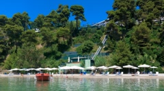 Time-lapse: tourists on typical Corfu beach,  Greece Stock Footage