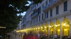 Time-lapse: Liston and old city at evening, Kerkyra, Corfu, Greece Stock Footage