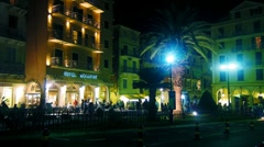 Time-lapse: Hotel Arcadia and old city at evening, Kerkyra, Corfu, Greece Stock Footage