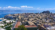 Stock Video Footage of Time-lapse: aerial view of old city from New fortress at day, Corfu, Greece