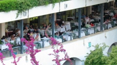Time-lapse: tourists during dining,  Corfu, Greece Stock Footage