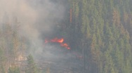 Aerial, gyro-stabilized, #24, over forest fire flames below Stock Footage