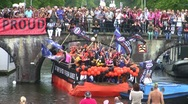 Stock Video Footage of AMSTERDAM - AUGUST 6 2011: Floats participate in Canal Parade in the Netherlands