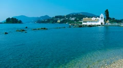 Time-lapse:Vlacherna monastery at day, Kanoni, Corfu, Greece. Stock Footage