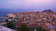 Stock Video Footage of Time-lapse: aerial view of old city from New fortress at evening, Corfu, Greece
