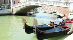 Gondola and taxi boat Stock Footage