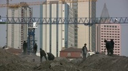 Chinese workers at construction site Stock Footage