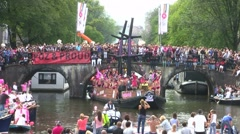 AMSTERDAM - AUGUST 6 2011: Floats participate in Canal Parade in the Netherlands Stock Footage