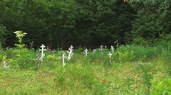 Wooden Grave Marker Crosses pan Stock Footage