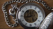 Stock Video Footage of Old silver pocket watch.