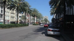 Palm Trees, Cable Car on Canal Street Stock Footage