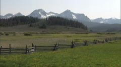 Scenic Sawtooth Mountain Range Fence Stock Footage