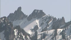 Snowy Sawtooth Mountain Peaks Stock Footage