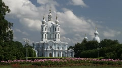Smolny Cathedral in St. Petersburg Stock Footage