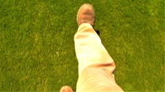 Feet Walking On Green Grass Stock Footage