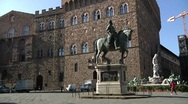 Stock Video Footage of Italy, Tuscany, Statue of Cosimo I and Palazzo Vecchio