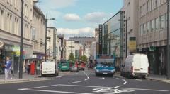 Single Deck Bus On Lord Street, Liverpool England UK Stock Footage