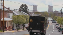 Towns in America are powered by nuclear power. Stock Footage