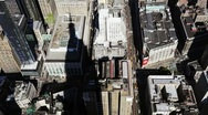 Shadow of Empire State Building on Downtown Manhattan, view from above Stock Footage