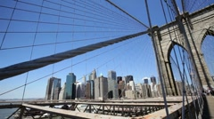 Manhattan Skyline and Brooklyn Bridge Cityscape Stock Footage