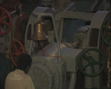 Close up of turning ship machinery Stock Footage