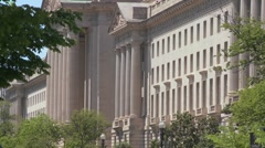 Stock Video Footage of The U.S. Treasury Building in Washington DC.