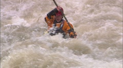 Whitewater Kayak SloMo 15b Stock Footage