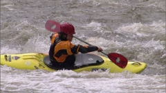 Whitewater Kayak SloMo 10c Stock Footage