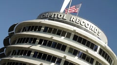 Capitol Records Low Dutch Angle Stock Footage
