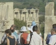 Tour group walking through ruins Footage