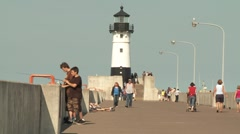 Duluth pier north breakwater lighthouse - handheld Stock Footage