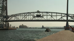 Duluth Lift Bridge and sailboat Stock Footage