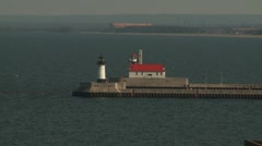 2 lighthouses Duluth breakwaters entry to harbor Stock Footage