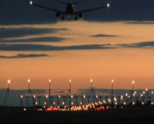 757 Landing at Dusk Stock Footage