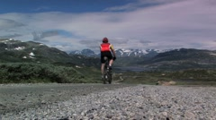 Bicycle mountain view Stock Footage
