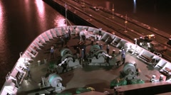 Sailors preparing the ship for entrance in Panama Channel Stock Footage