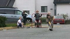 Good Teamwork Playing Road Hockey Stock Footage