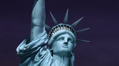 Statue of Liberty Night Sky Stock Footage