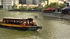 Singapore River Cruise,Boat Quay Stock Footage