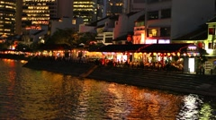 Singapore River, Boat Quay Night Stock Footage