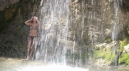 Stock Video Footage of Under Waterfall