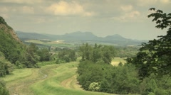 View of mountains and European countryside Stock Footage