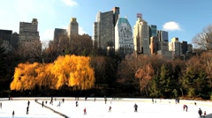 Wollman Ice rink in Central Park, Manhattan, New York City, USA Stock Footage