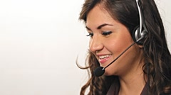 Pretty happy customer service  worker helping out on phone Stock Footage